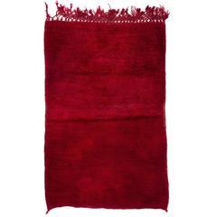 Plain Solid Red Wool Tulu Rug