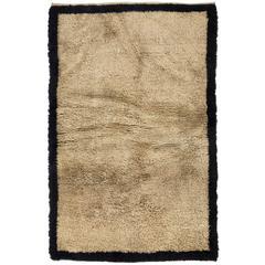 Minimalist Anatolian Tulu Rug Made of Natural Beige and Black Wool