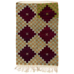 One of a Kind Vintage Tulu Rug with Checkered Geometric Design