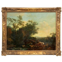 18th century oil painting of Italianate view