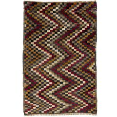 Checkered Zig Zag Design Tulu Rug