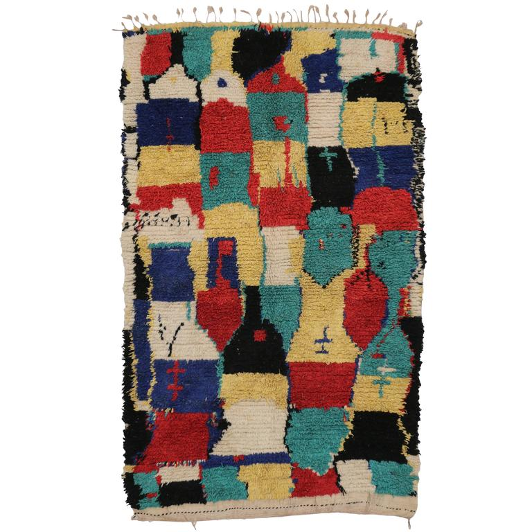 Mid-Century Modern Vintage Berber Moroccan Rug with Modern Tribal Style