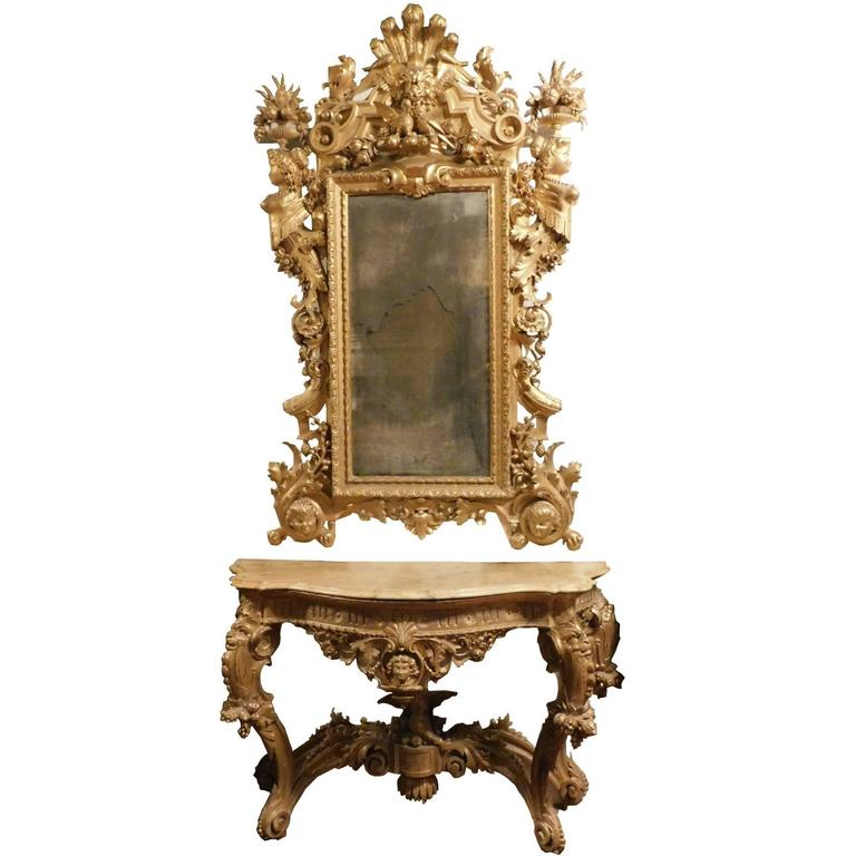 Antique Console Table and Mirror Set For Sale at 1stdibs