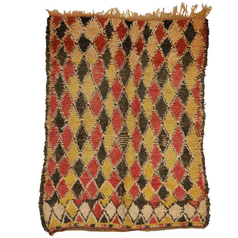 Mid-Century Modern Vintage Berber Moroccan Rug with Tribal Style