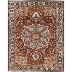 Antique Persian Bakhtiari Rug with Ornate, Floral, Central Medallion Design