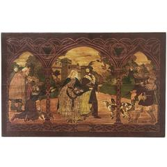 19th Century Oil Painting on Board Miracle of the Roses