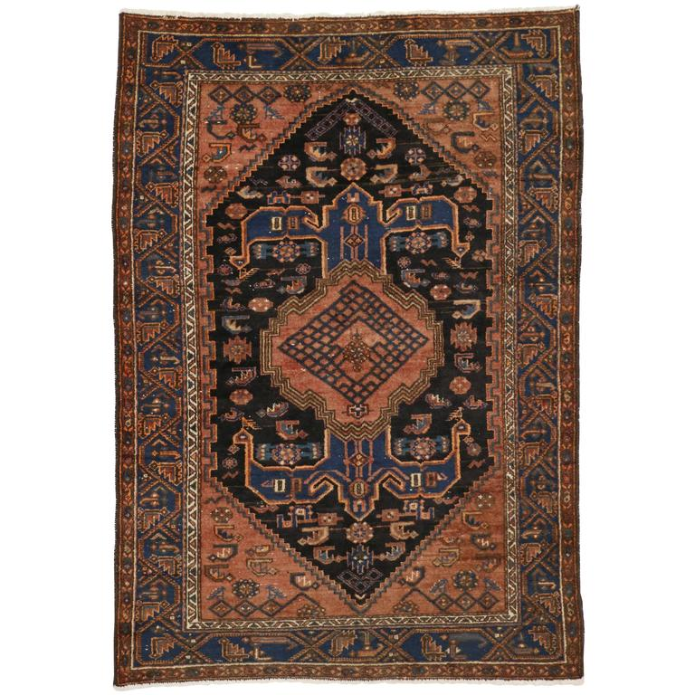 Modern Rugs Vintage: Antique Persian Hamadan Rug With Modern Tribal Style For
