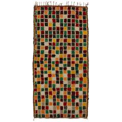 Mid-Century Modern Vintage Berber Moroccan Runner with Checkerboard Design