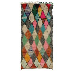 Vintage Moroccan Rug with Diamond Pattern, Colorful Moroccan Wide Hallway Runner