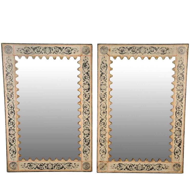Pair of Spanish Mirrors in Painted Metal