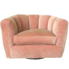 Milo Baughman Single Channel-Back Swivel Club Chair