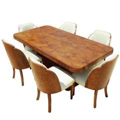 20th Century Art Deco Burr Walnut Dining Suite by H&L Epstein