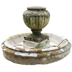 19th Century Gadrooned Limestone Urn with Circular Stone Water Feature/Fountain
