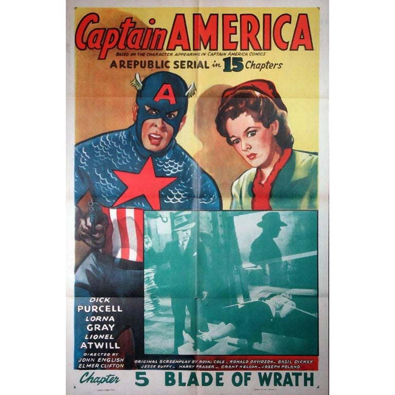 """Captain America"" Film Poster, 1944 For Sale"