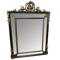 19th Century Ebonized and Gilt Cushion Mirror