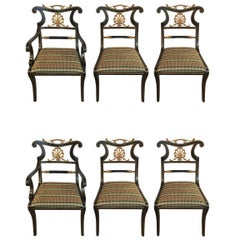 Set of Six Neoclassical Style Ebonized and Brass Mounted Dining Chairs Jansen