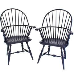 Pair of Boston Sack-Back Armchairs in Azimuth 'Navy' Blue Stain on  Maple