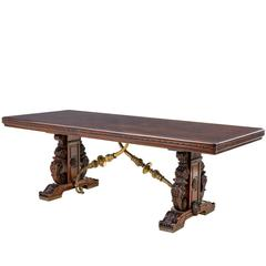 Impressive 19th Century French Carved Walnut and Bronze Dining Table