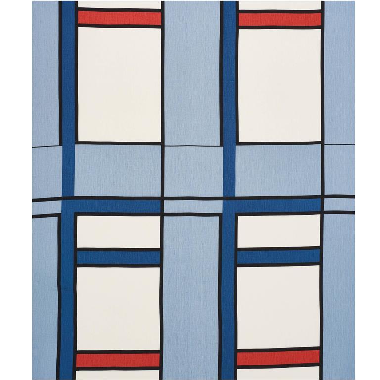 Schumacher Frank Lloyd Wright Schumacher Design 103 Blue Red Linen 3.5-Yd Panel