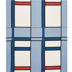 Mid-20th Century Frank Lloyd Wright Schumacher Blue Red Linen 3.5-Yard Panel