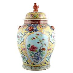 Chinese Hand-Painted Porcelain Ginger Jar, circa 1900