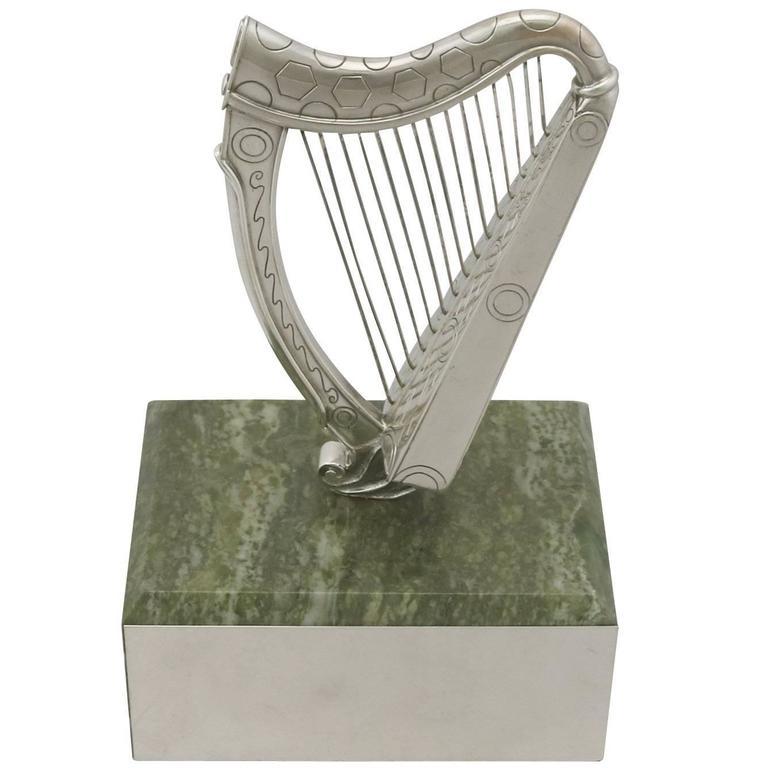 Vintage Sterling Silver Harp Trophy by Edward Barnard & Sons Ltd