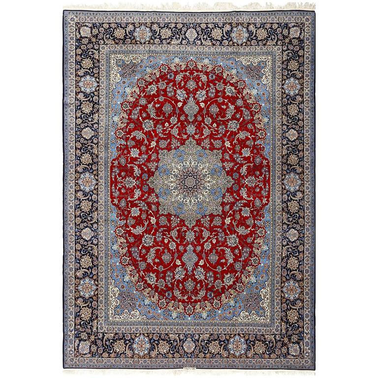 Vintage Red Background Isfahan Persian Rug