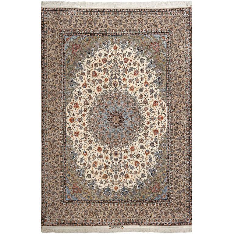 Fine Ivory Vintage Isfahan Persian Rug