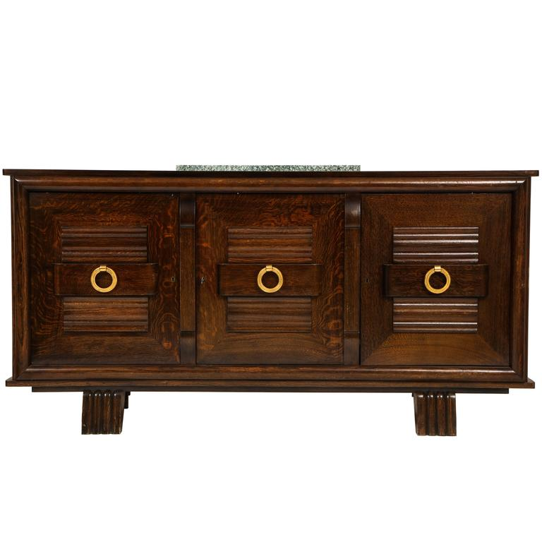 French Deco Oak Sideboard Buffet Credenza Brass Pulls Mid Century
