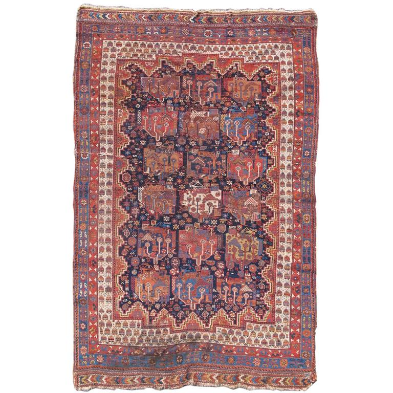 Late 19th Century Floral Red Afshar Rug
