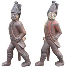 Early 19th Century Hessian Soldiers Andirons