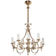 Dutch Early 20th Century Brass Oil Chandelier