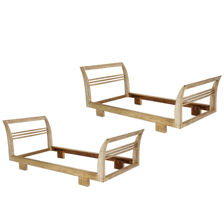 Royere Gouffe Cerused Oak Daybed Deco, France, 1930s-1940s Mid-Century For Sale