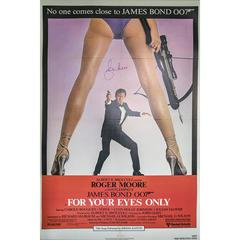 """Hand Signed by Roger Moore, """"For Your Eyes Only"""" Film Poster, 1981"""