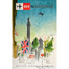 Original Vintage British European Airways Travel Poster - Fly BEA To London