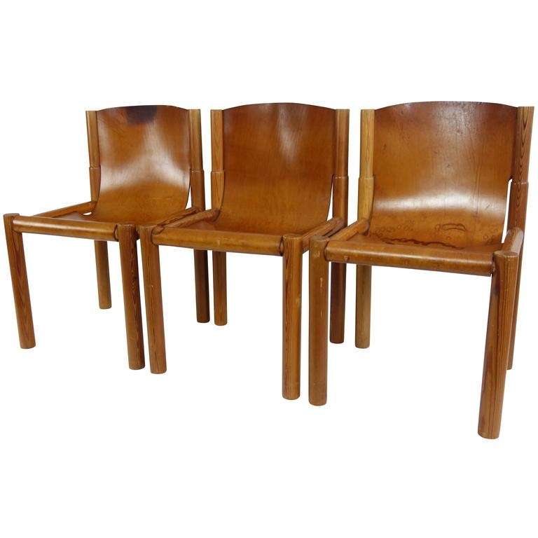 Set of Midcentury French Leather Sling Seat Dining Chairs