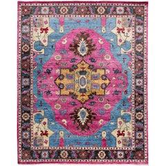 21st Century Modern Pink Indian Wool Rug