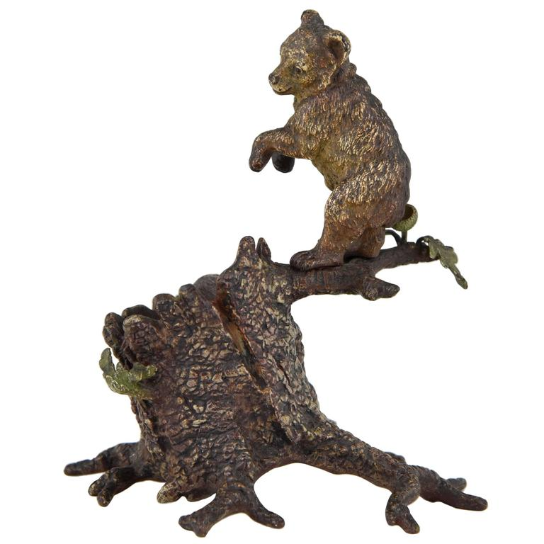 Cold Painted Vienna Bronze Bear On A Tree Trunk By Bergman