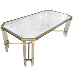Vintage Italian Lucite and Brass Coffee Table
