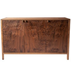 Laska Credenza, Figured Walnut and Brass, Three Doors, Customizable
