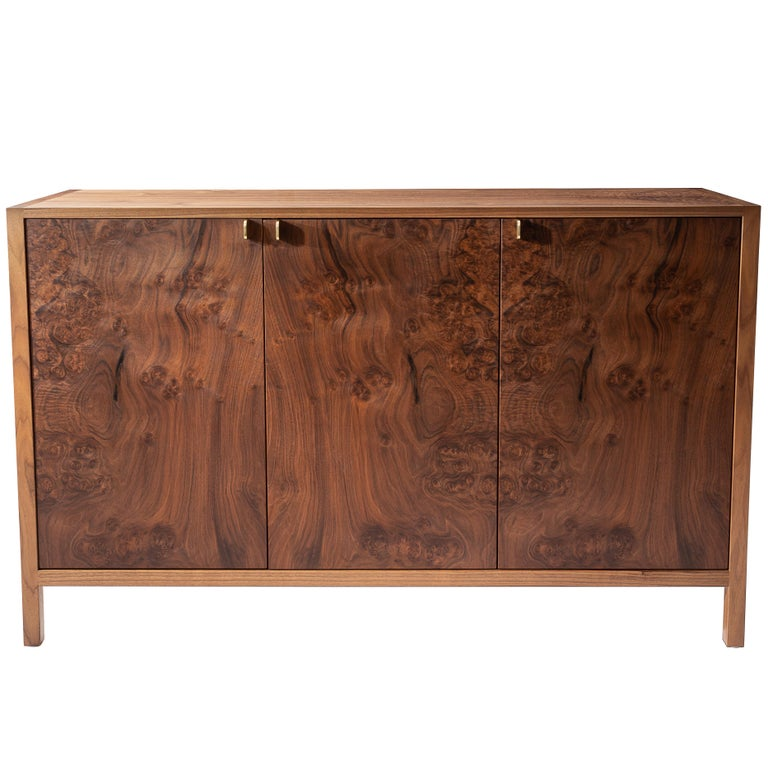 Laska Credenza, Figured Walnut and Brass, Three Doors, Customizable For Sale
