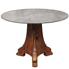 French Empire Mahogany Centre Table with Bronze Dore Mounts, Early 19th Century