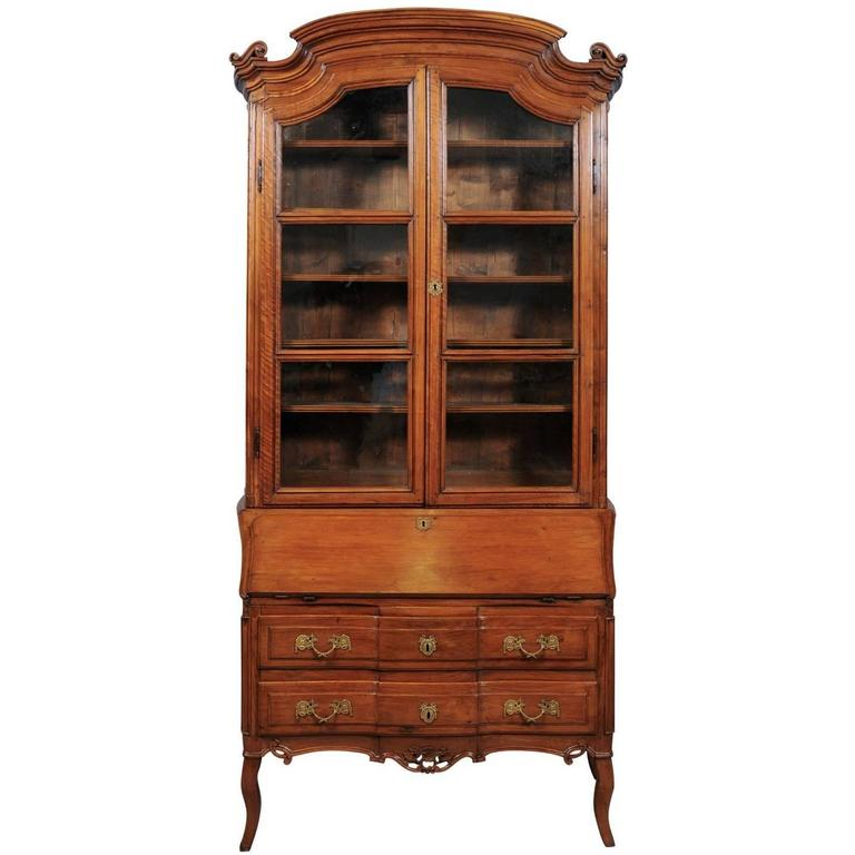 Louis XV Walnut Bureau Bookcase with Arched Cornice, France, circa 1750