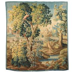 18th Century French Verdure Tapestry of Village through Trees