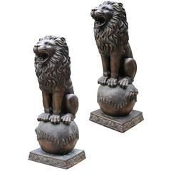 Pair of 20th Century Bronze Ornamental Lions