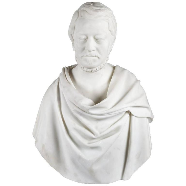 Antique Carrara Marble Bust For Sale