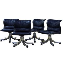Group of Four Executive Leather Lounge Chairs by Giovanni Offredi for Saporiti
