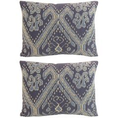 Vintage Blue and Yellow Ikat Decorative Pillows