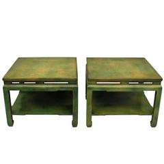 Pair of 1950 Square Green Lacquered Coffee Tables