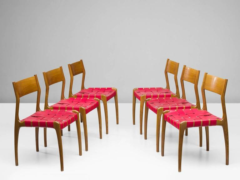 Set of Six Italian Dining Chairs In Good Condition For Sale In Waalwijk, NL
